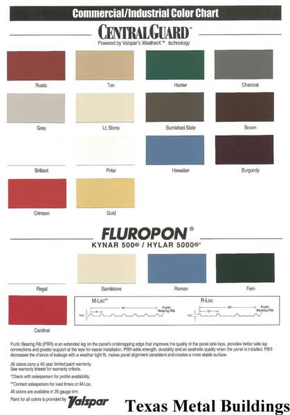 Texas Metal Buildings Mini and Self Storage Color Chart